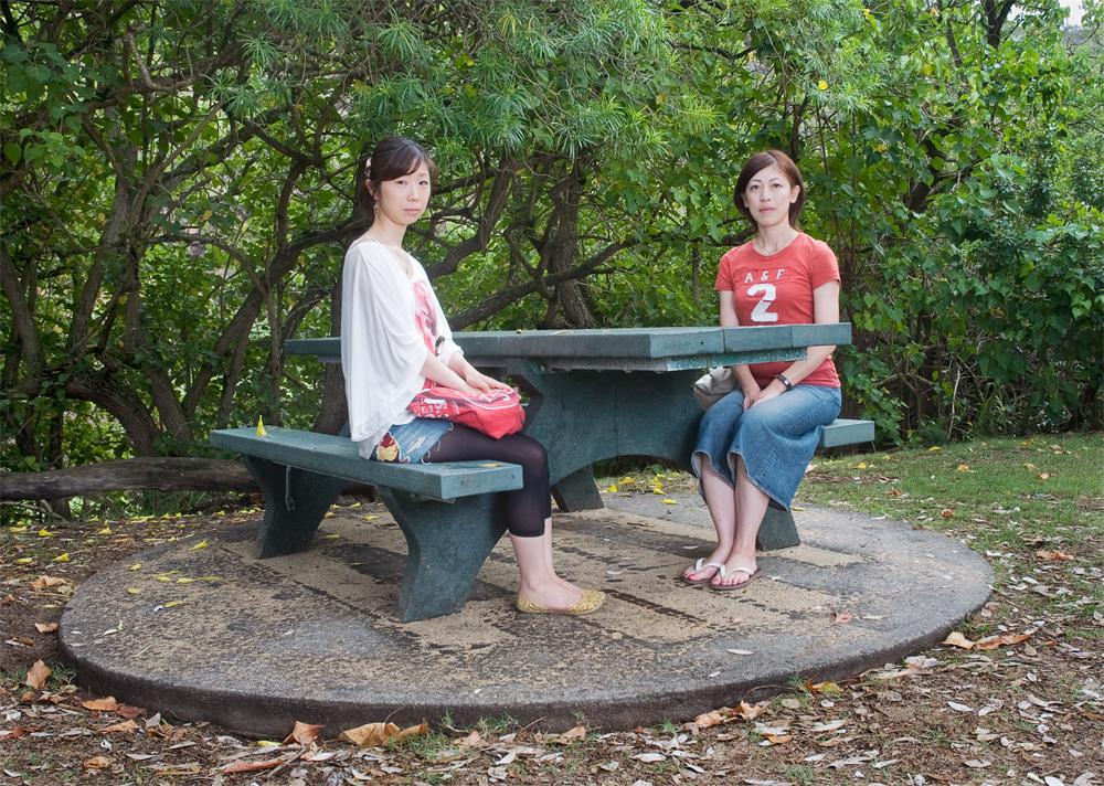 """Mami Tanaka & Michiko Watanabe    Waimea Bay Beach Park,Oct. 1, 2010    Archival Pigment Print, 27.5"""" x 19.75"""""""