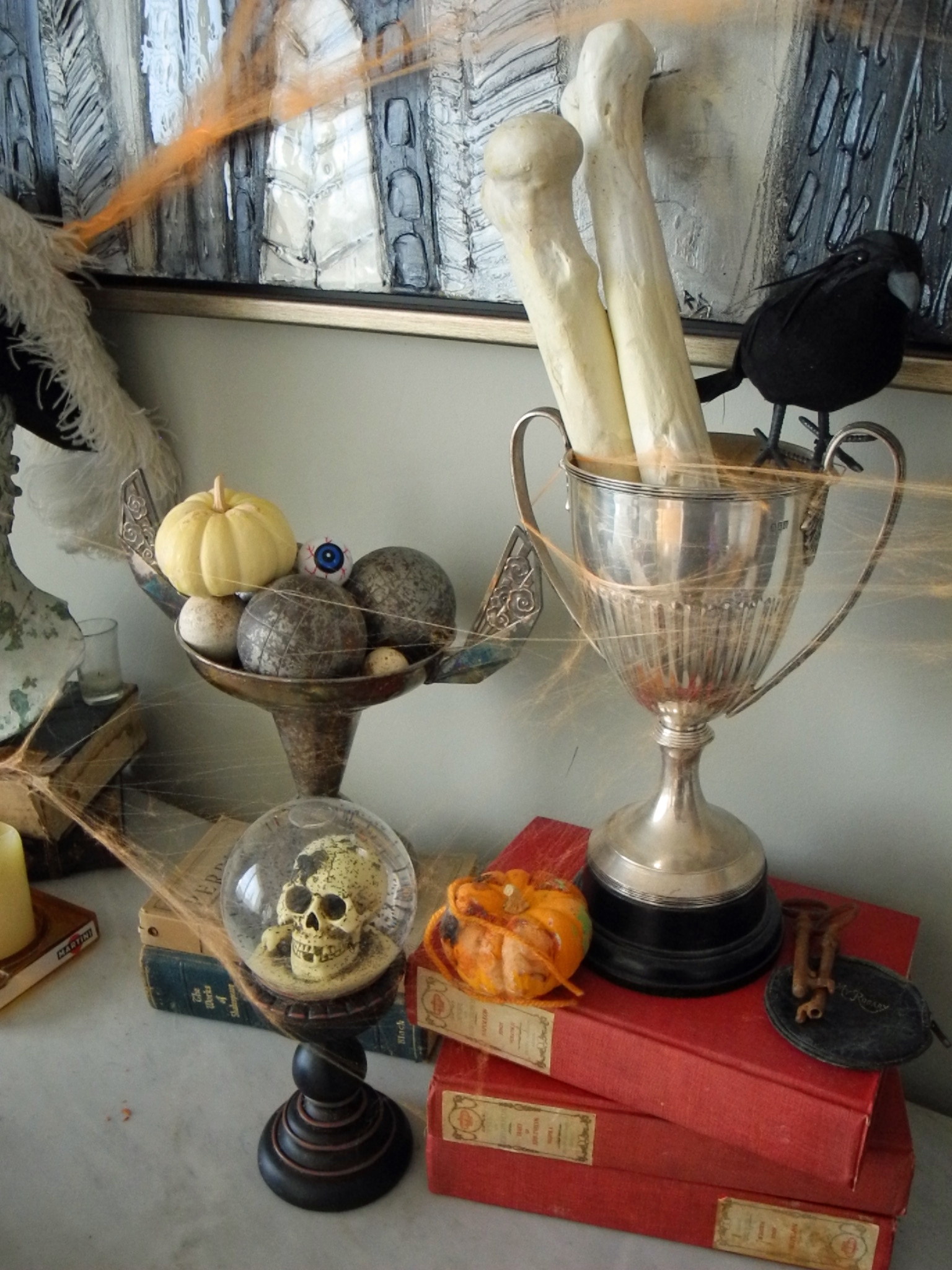 Vintage trophies are the perfect containers for bones and parts.