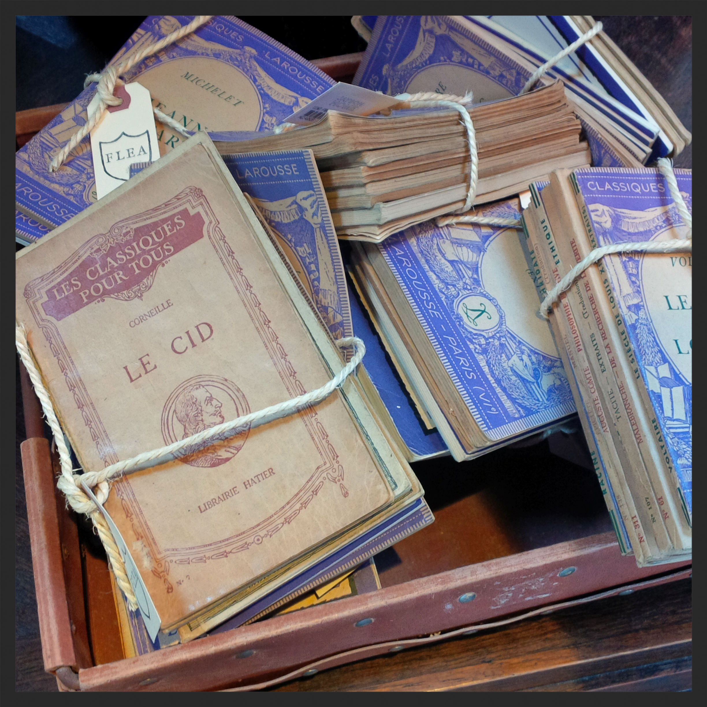 I love stacks of vintage French books - on a tray, on a cupboard, well anywhere!
