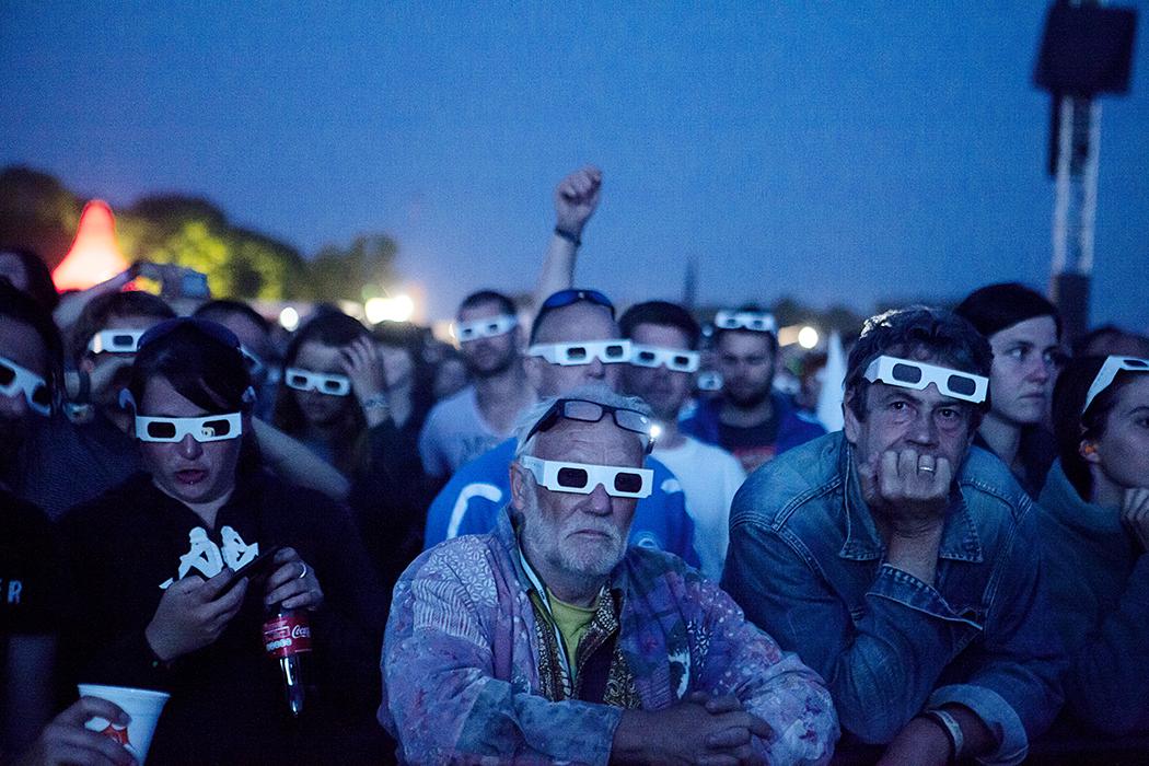 Kraftwerk performing a 3D show on Roskilde Festival 2013.