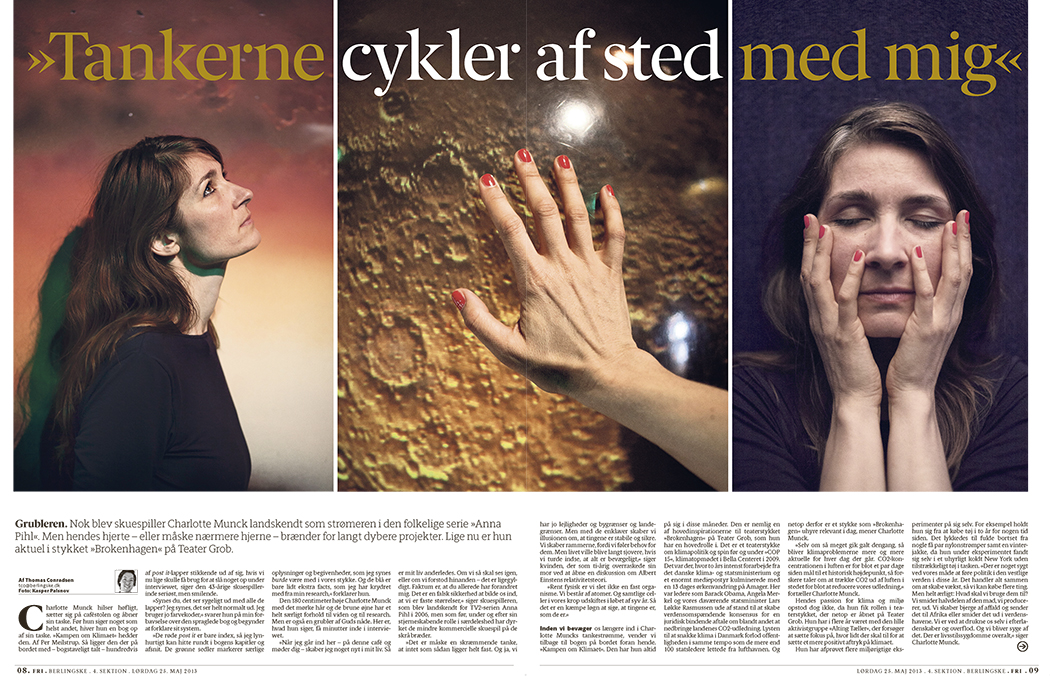 Skuespiller Charlotte Munck er på forsiden af dagens FRI tillæg i Berlingske. Køb avisen eller læs artiklen  her .   –   Danish Actor Charlotte Munck shot as cover story for Berlingske Fri. Read it today.