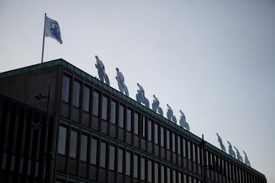 Herning Rådhus er klar til starten på Giro' d'Italia 2012.