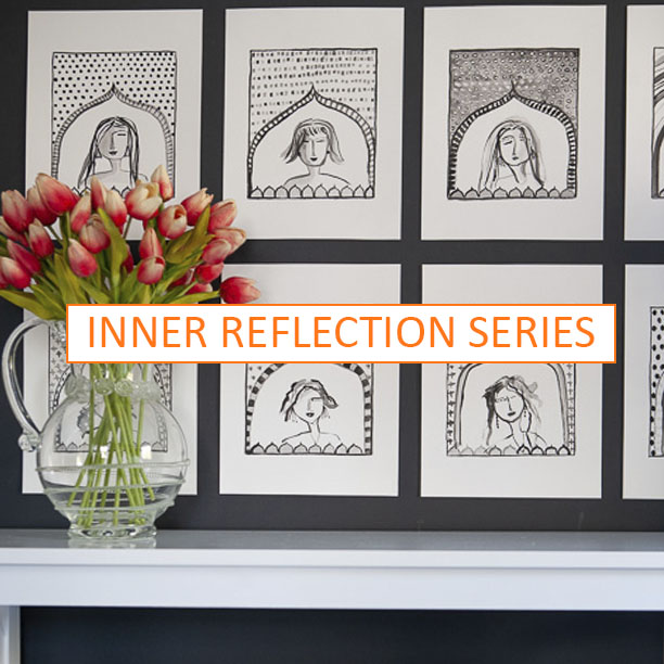 Hand-painted line drawings of women's faces within an arch on a patterned background