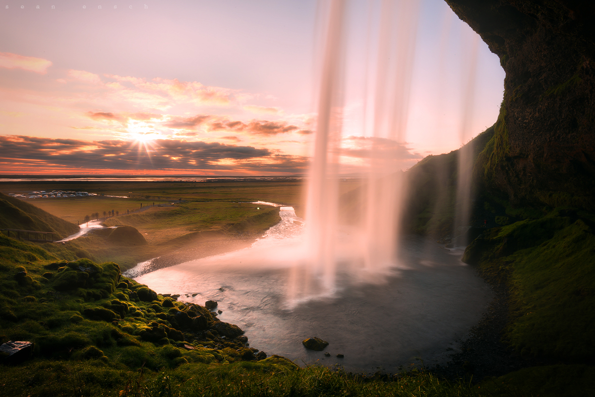 Seljalandsfoss waterfall on the south coast of Iceland at sunset.