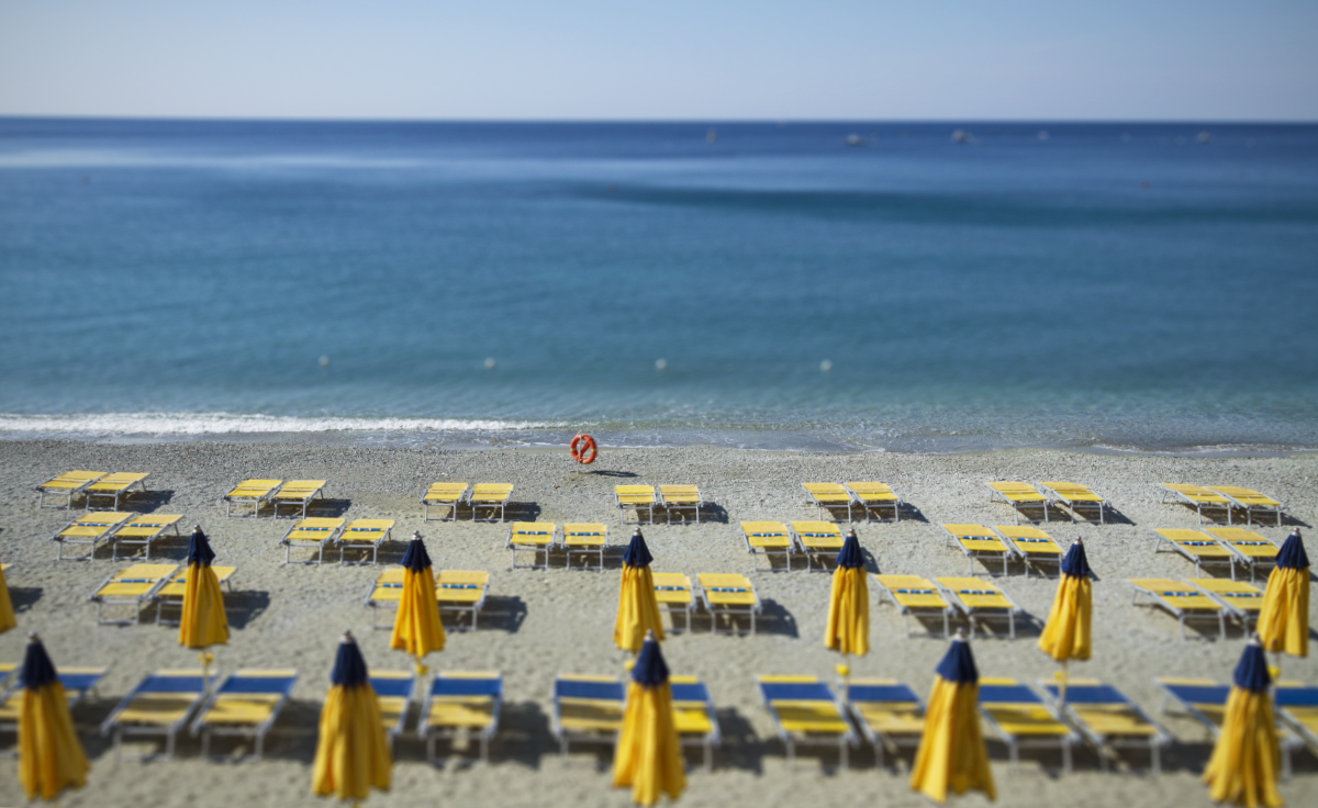 Empty beaches on an early morning in Monterosso.