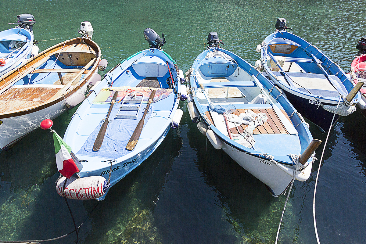 Boats in the quite harbour of Vernazza.