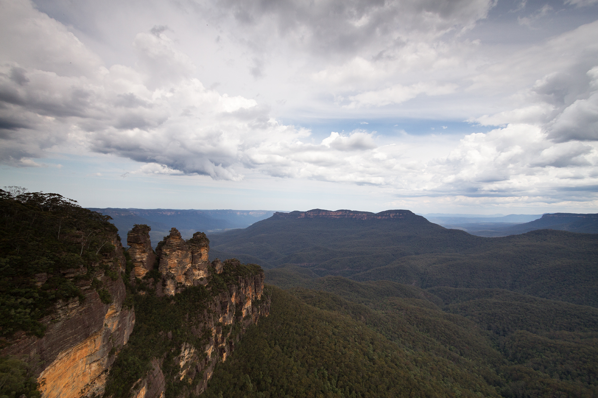 The Three Sister, seen from a Lookout  in Katoomba in the picturesque Blue Mountains, NSW, Australia.