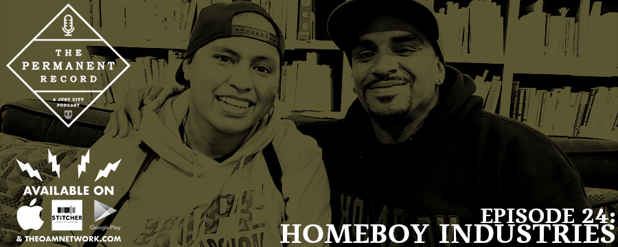 Homeboy Industries bills itself as the largest gang intervention program on the planet. There is little doubt that this unassuming collection of neighbors has transformed thousands of lives and saved thousands more. The Homies, as they are known, give tours, bake bread, learn trades, and generally invest in each other and their neighborhoods. Two Homies, Omar and Jason, were in town recently with Homeboy founder Father Greg Boyle, and we sat down with them for a few minutes to get the inside scoop. It was a delightful conversation that we hope you enjoy.  Learn more about Homeboy at  homeboyindustries.org . Listen to a brilliant conversation with Father Greg  here .