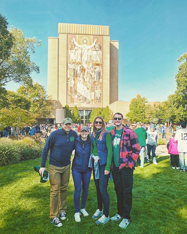 One of the wonderful memories made this weekend. The rich football tradition in South Bend is top notch and especially so when you're with great friends.  #goirish #notredamefootball #beatusc  #irishintraining #ruckclub