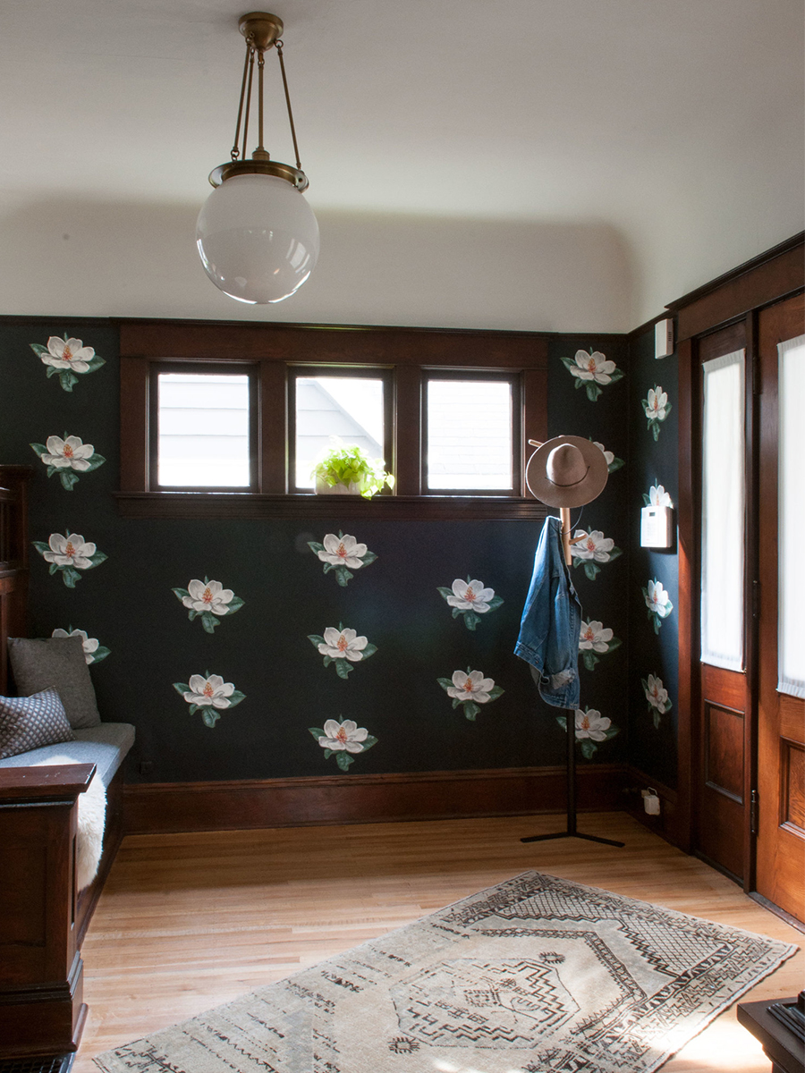 Custom Hand-painted Floral Entry with Built-In Bench | Casework Interior Design | Portland, OR