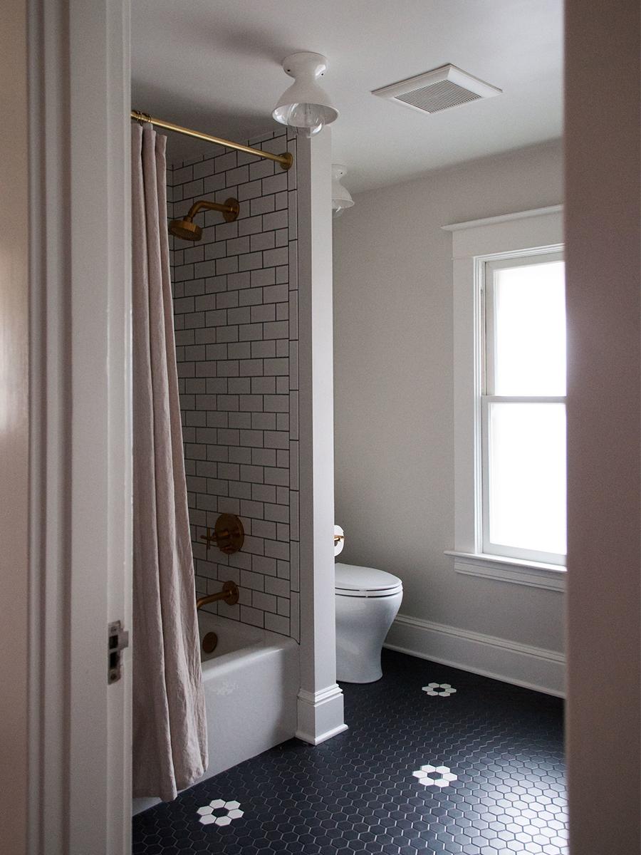 Master Bathroom with Custom Patterned Tile Flooring | Casework Interior Design | Portland, OR