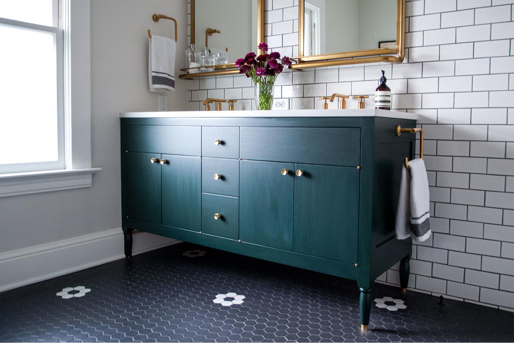 Master Bathroom with Brass Details & Green Vanity | Casework Interior Design | Portland, OR