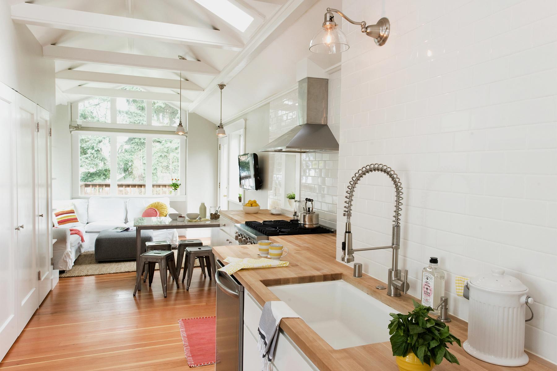 Open Bright Kitchen with Living Space & Butcher Block Countertops | Casework Interior Design | Portland, OR