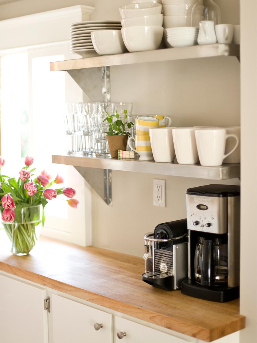 Open Bright Kitchen with Butcher Block Countertops & Open Shelving | Casework Interior Design | Portland, OR