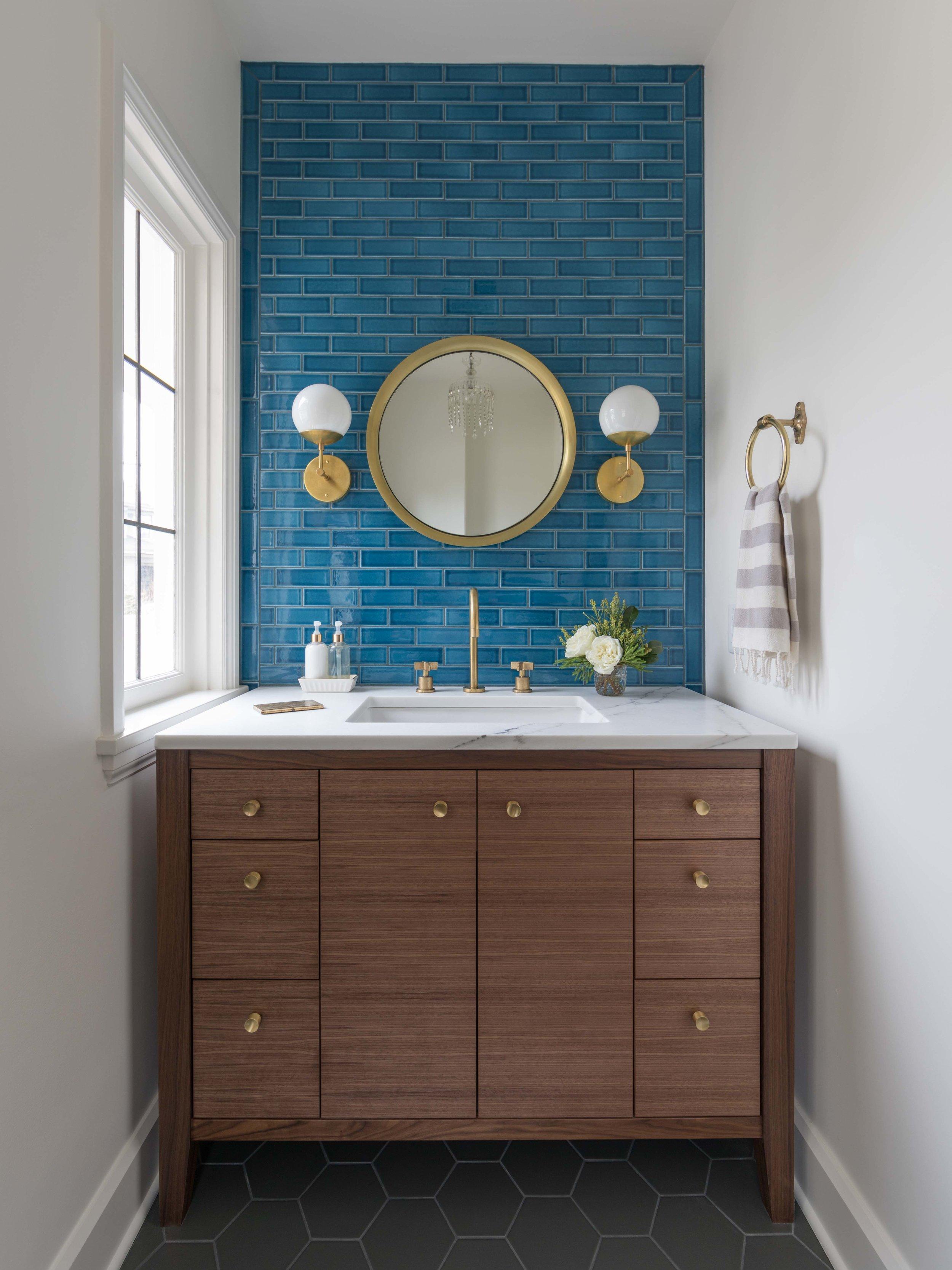 Small Bathroom with Blue Tile & Brass Details | Casework Interior Design | Portland, OR