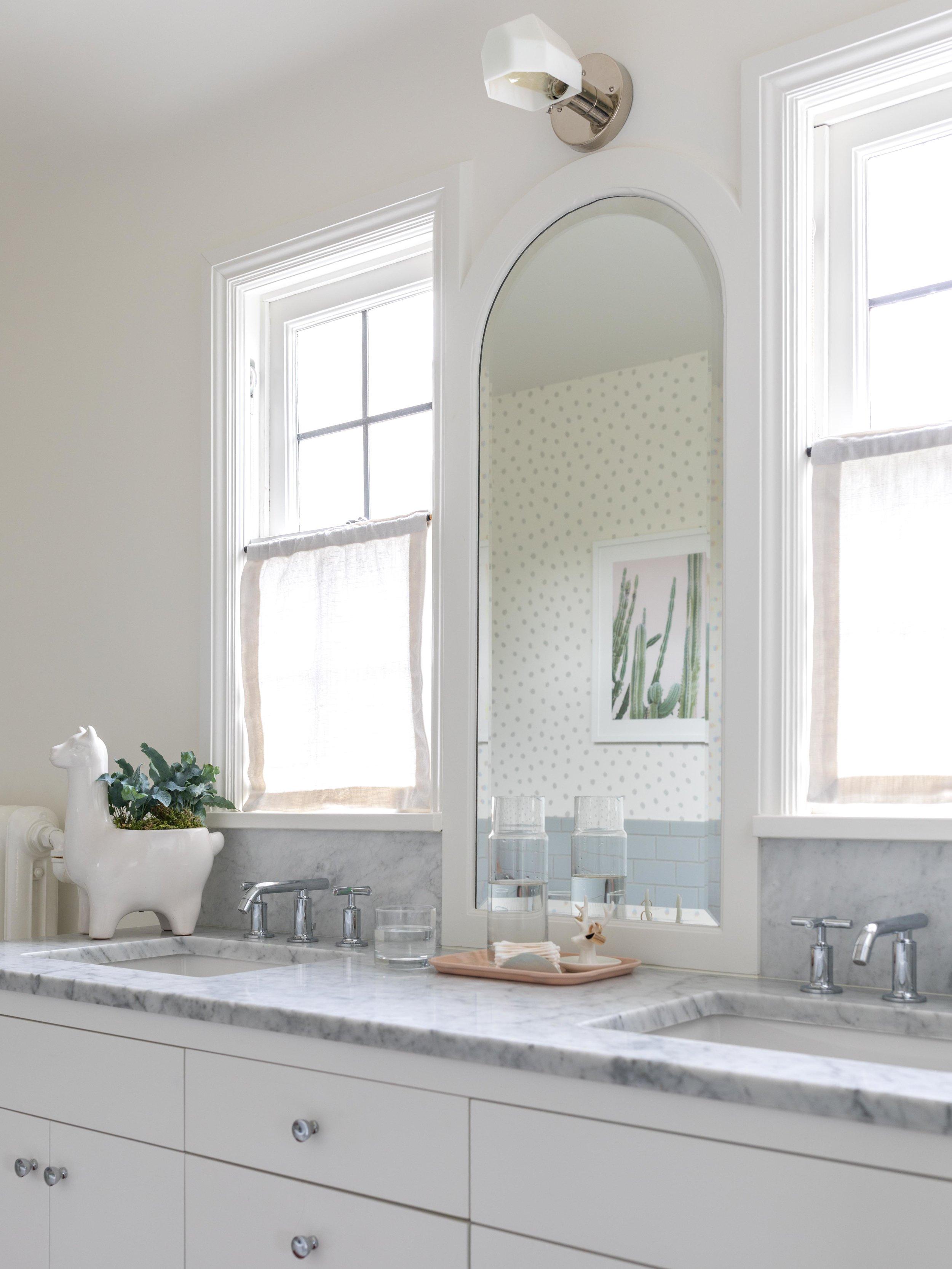 Girls Bathroom with Feminine Wallpaper & Art | Casework Interior Design | Portland, OR