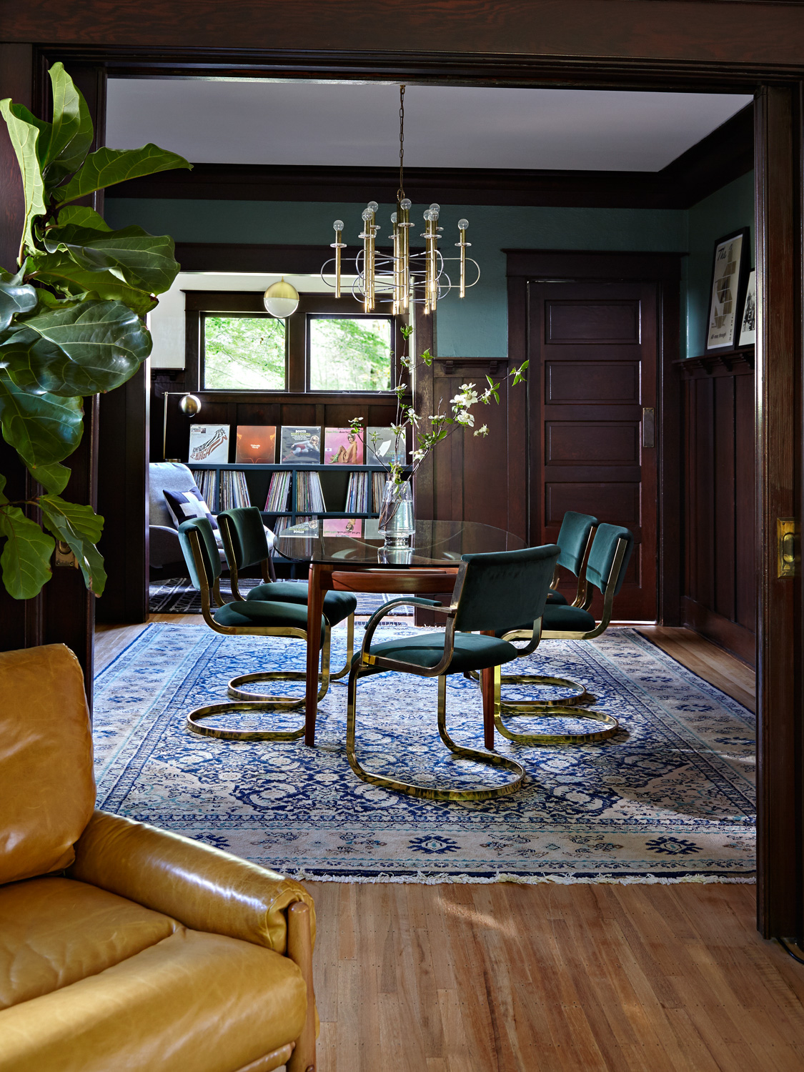 Moody Dining Room with Wainscoting | Casework Interior Design | Portland, OR