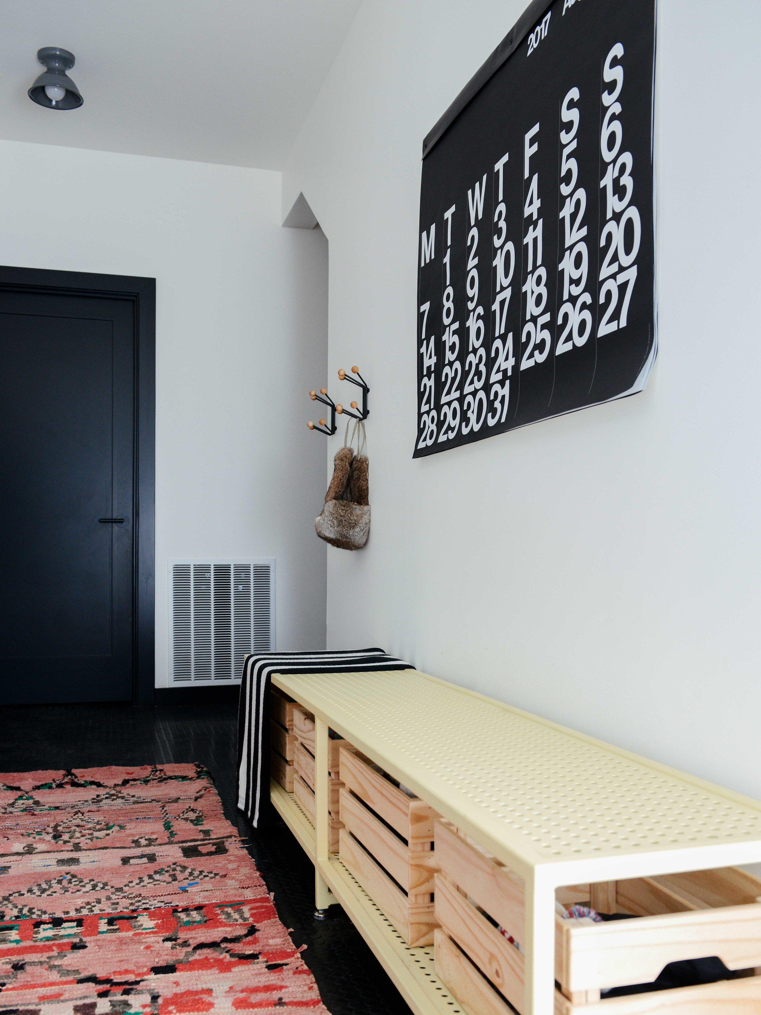Modern Black & White Mountain Cabin Entry with Moroccan Rug | Casework Interior Design | Portland, OR
