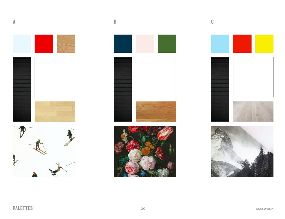 Initial palette inspiration we presented early in the design phase. We had our eye on this painting from the beginning as a major source of inspiration. Little did we know, we'd be covering an entire sectional with our version of it.