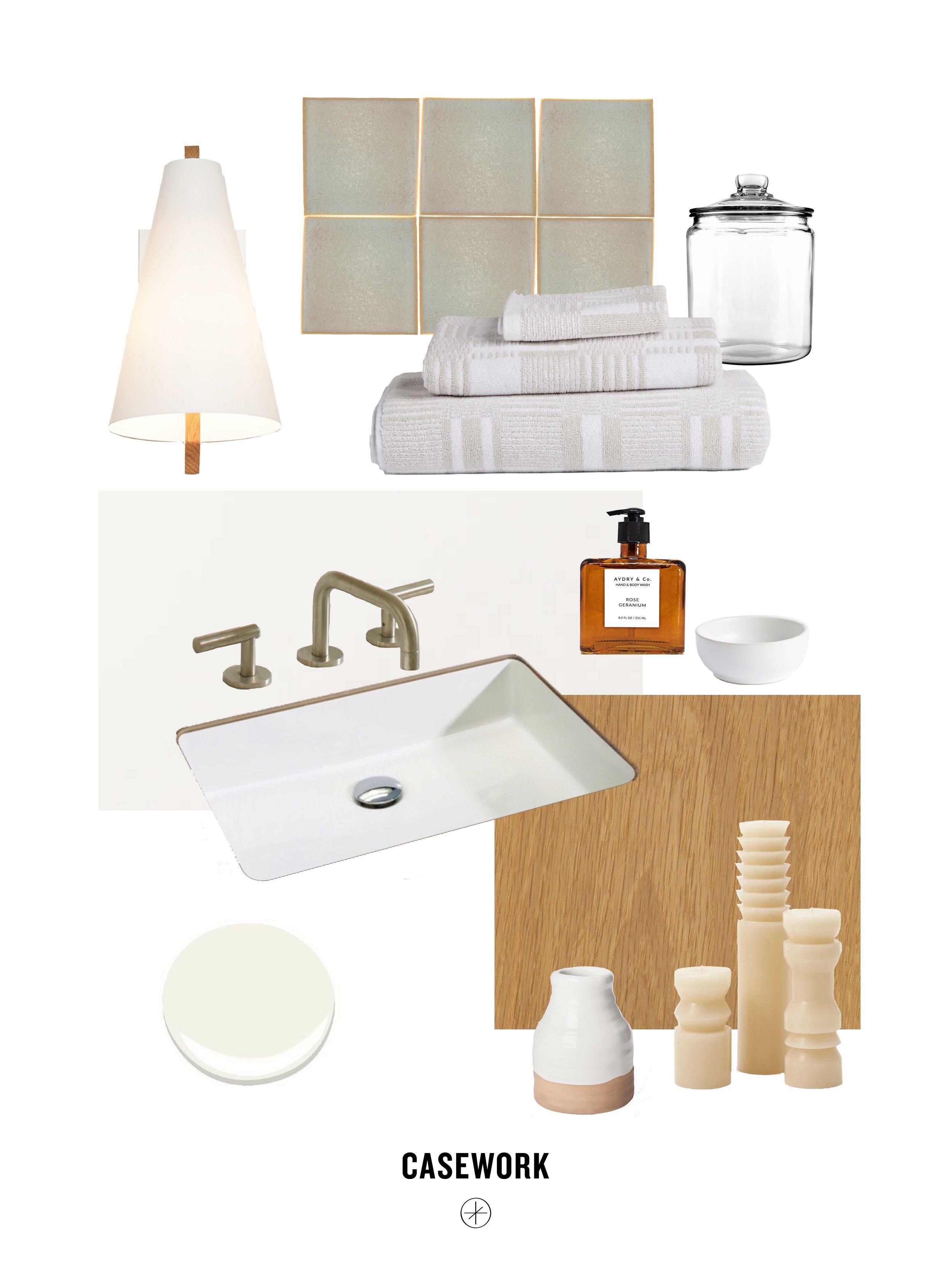 Sources:  Tub/Shower Tile     Bathtub    Sink     Faucet     Counter     White Oak Vanity and Mirrors - custom    Sconces     Bath Mats/Towels     Candles     Vase     Bath Salts Container  