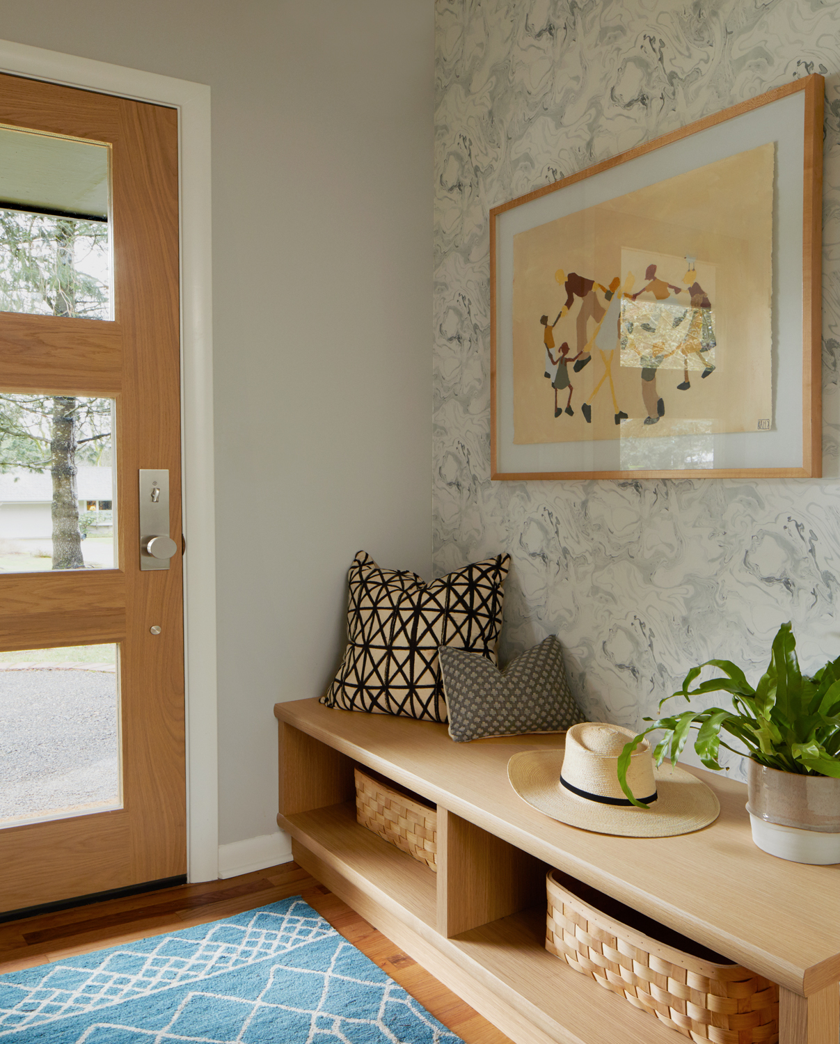 Minimal Entry with Rebecca Atwood Wallpaper & Custom Built-In | Casework Interior Design | Portland, OR