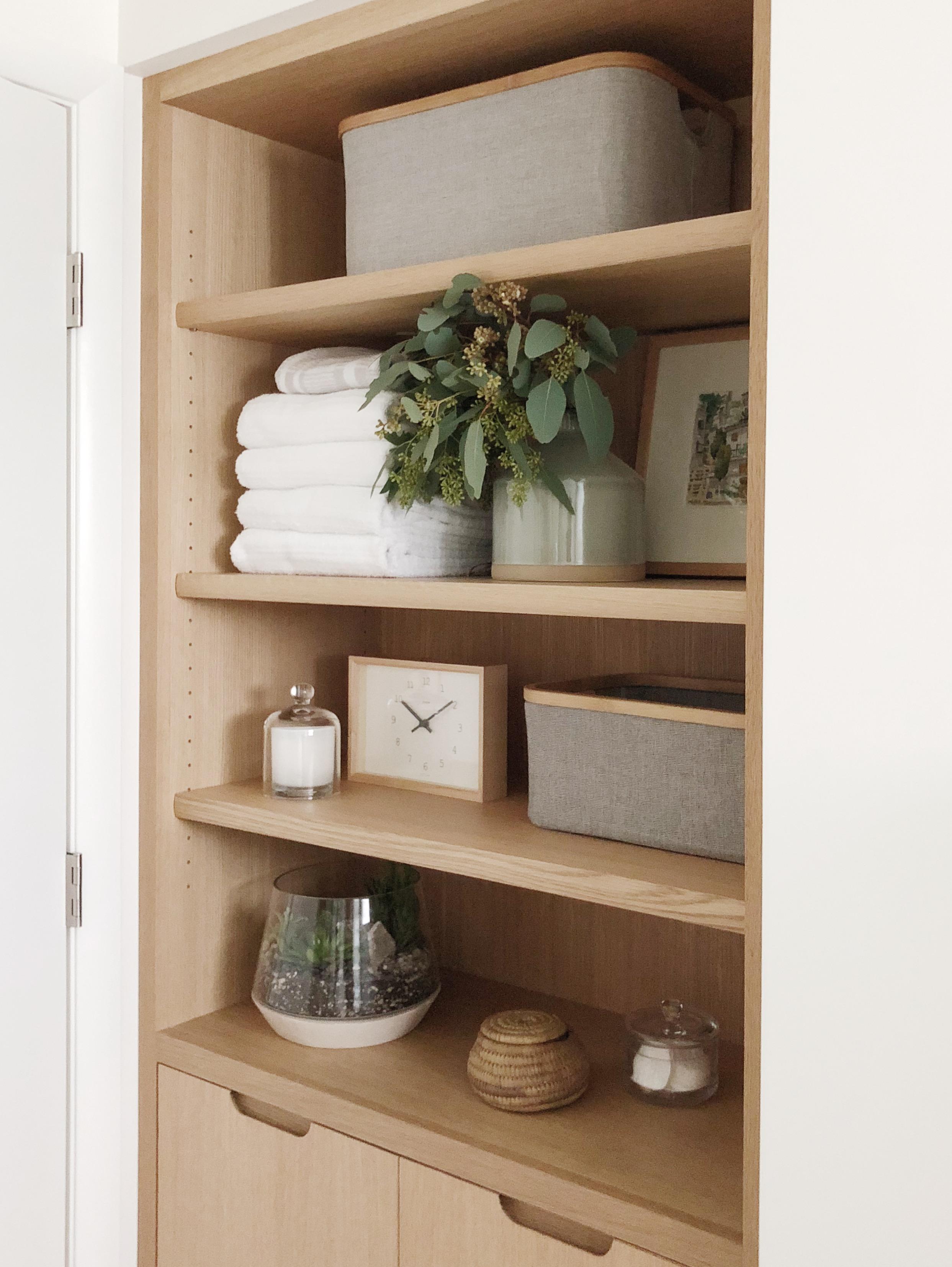 Minimal Master Bath Custom Oak Built-In Storage | Casework Interior Design | Portland, OR