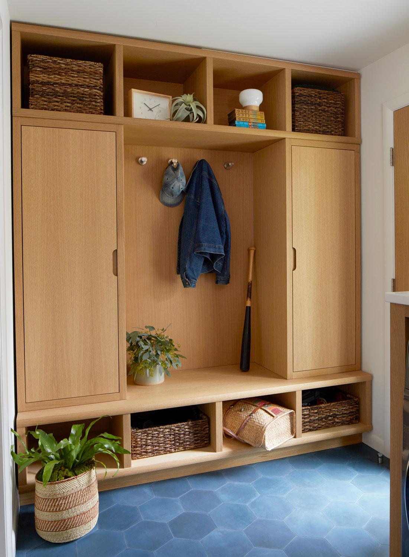 Custom Mudroom Oak Built-In Cabinets & Storage with Clé Cement Tile | Casework Interior Design | Portland, OR