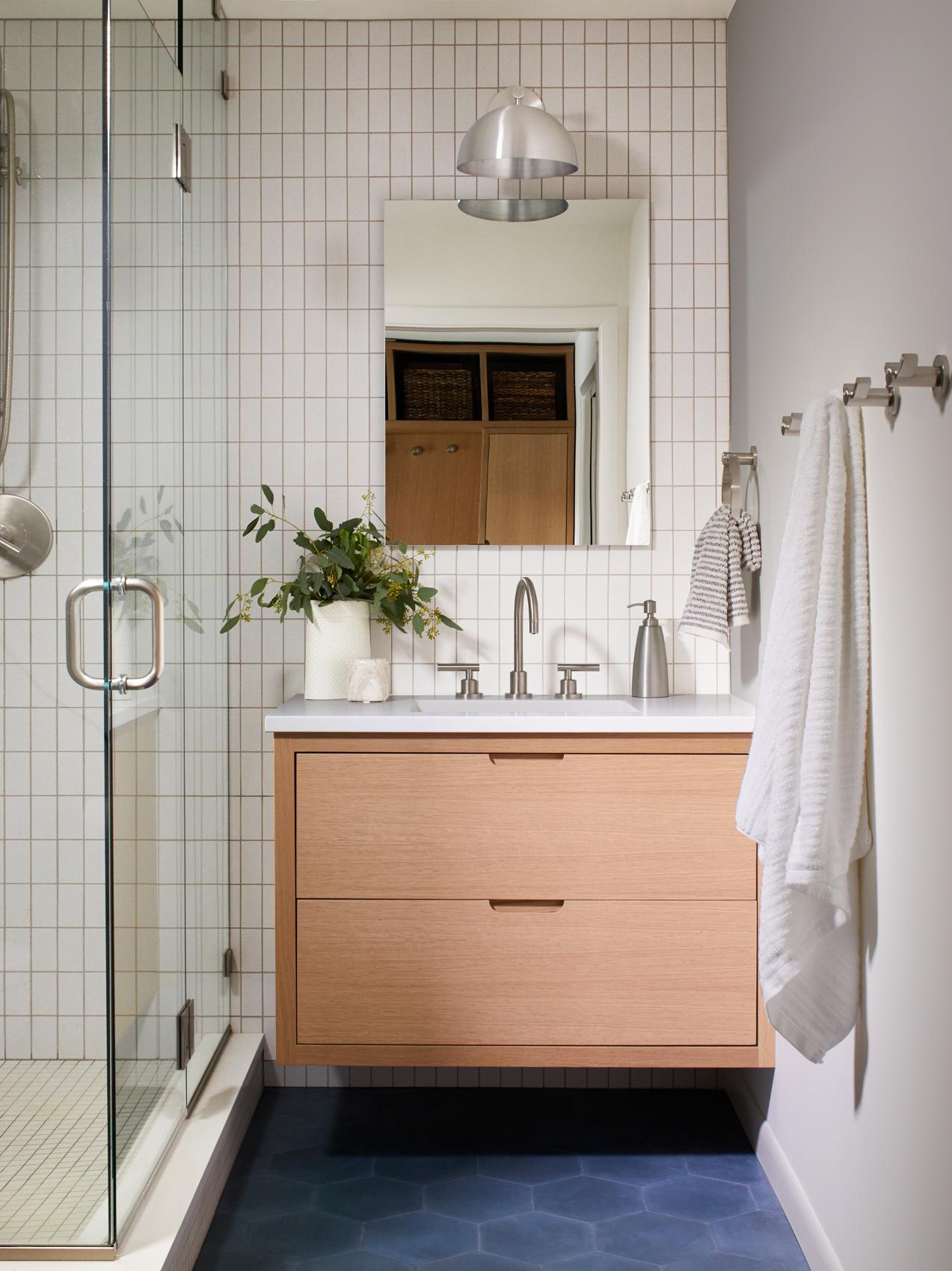 Half Bath with Custom Oak Vanity, Park Studio Sconce & Clé Cement Tile | Casework Interior Design | Portland, OR