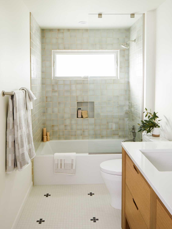 Minimal Master Bath with Custom Oak Cabinets & Handmade Tile | Casework Interior Design | Portland, OR