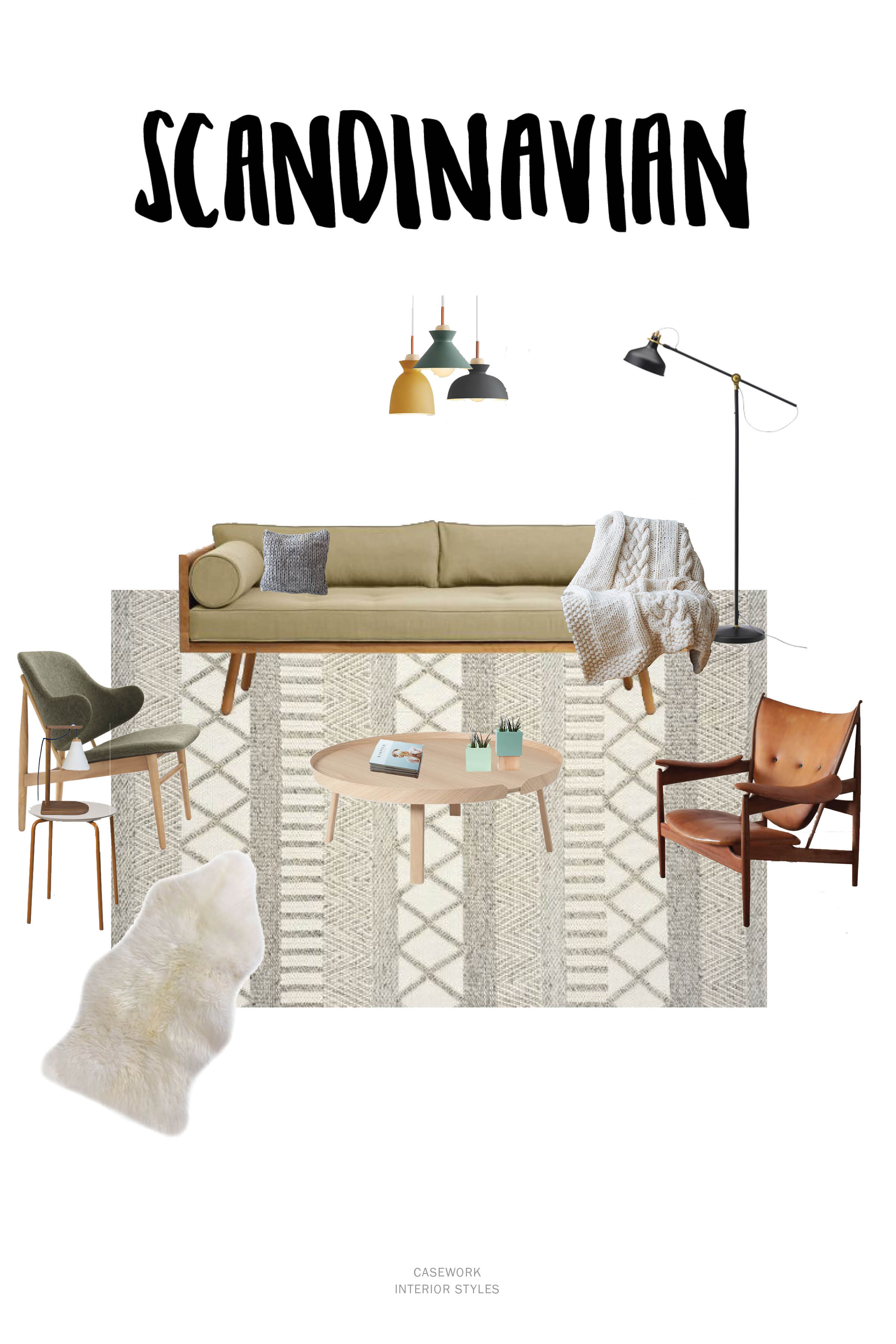 Scandinavian Interior Style Resources:   Pendants  |  Sofa  |  Floor Lamp  |  Chunky Cable Knit Throw  |  Leather Lounge Chair  |  Coffee Table  |  Rug  |  Upholstered Side Chair  |  Side Table  |  Table Lamp  |  Sheepskin Throw