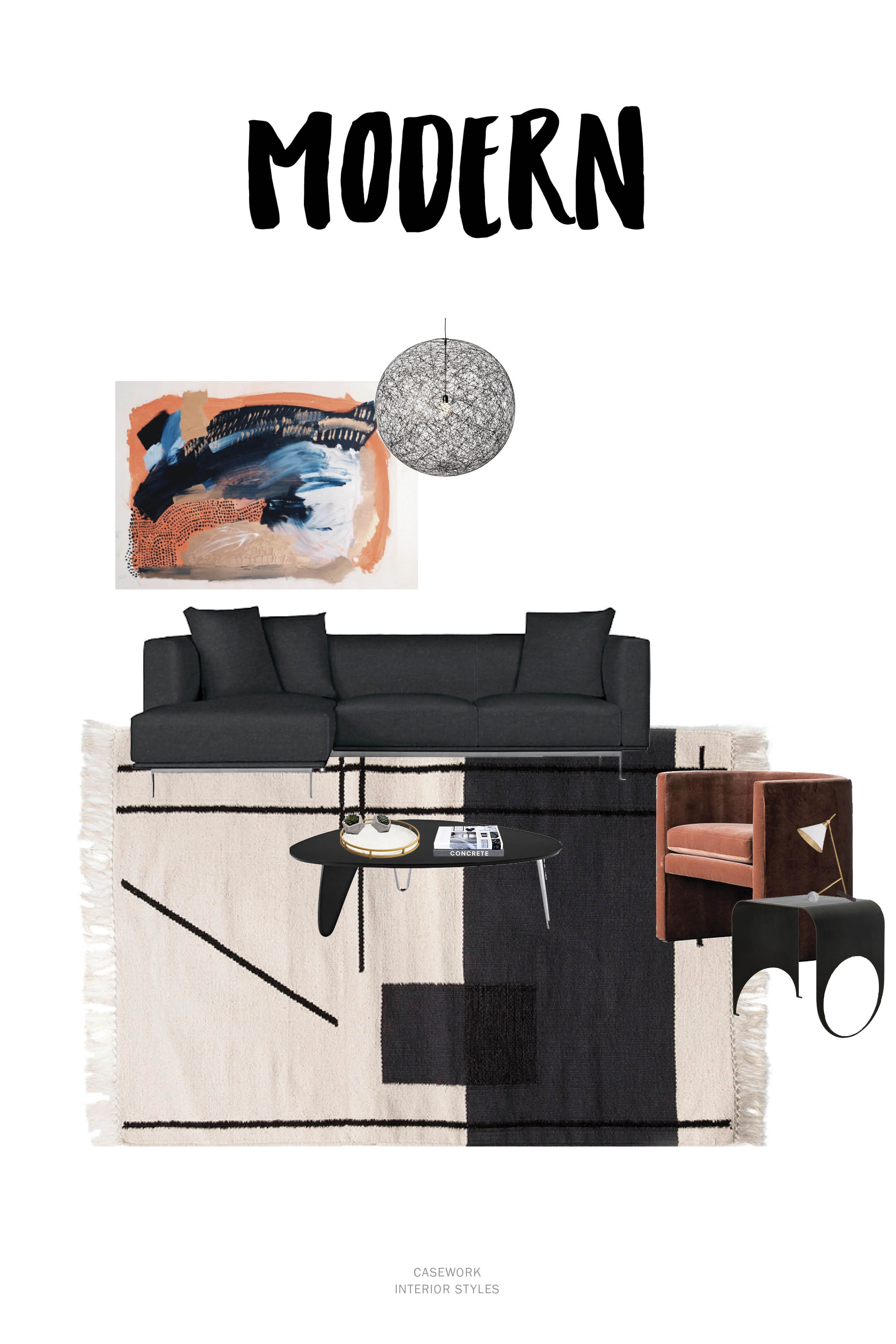 Modern Interior Style Resources:  Art  |  Pendant  |  Sofa  |  Coffee Table  |  Side Chair  |  Table Lamp  |  Side Table  |  Rug - similar