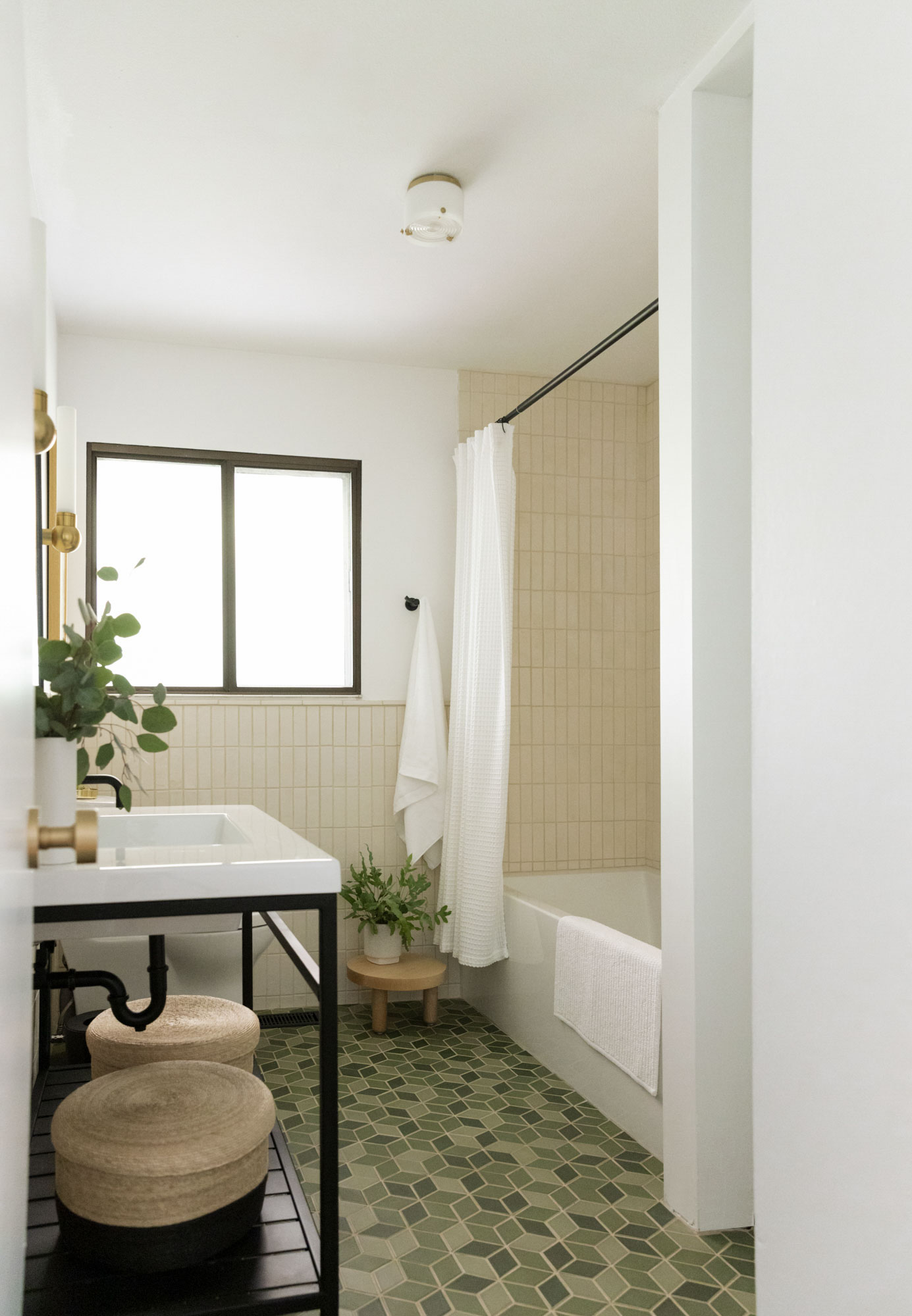 Pratt & Larson -  Custom Blend Tile - Green Variation  with custom matte black vanity