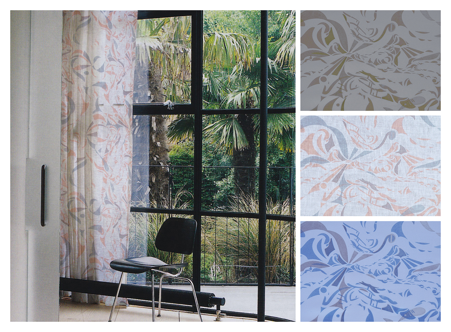 SEA   Shown in room, with details and colorways, hand screen-printed on light-weight fabric