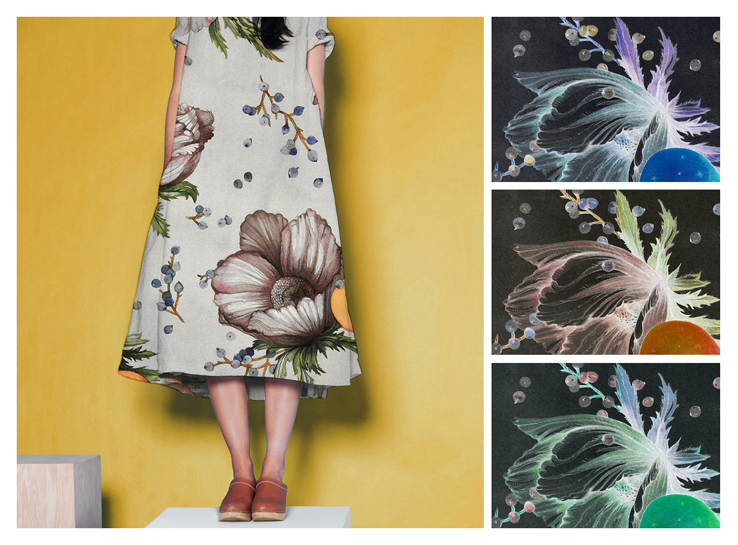 ANEMONE   Shown on dress, with details and colorways, hand-painted in dyes
