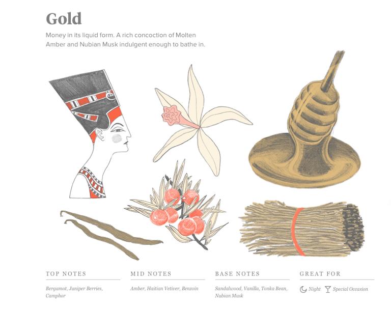 Commodity Gold Fragrance Description Illustration