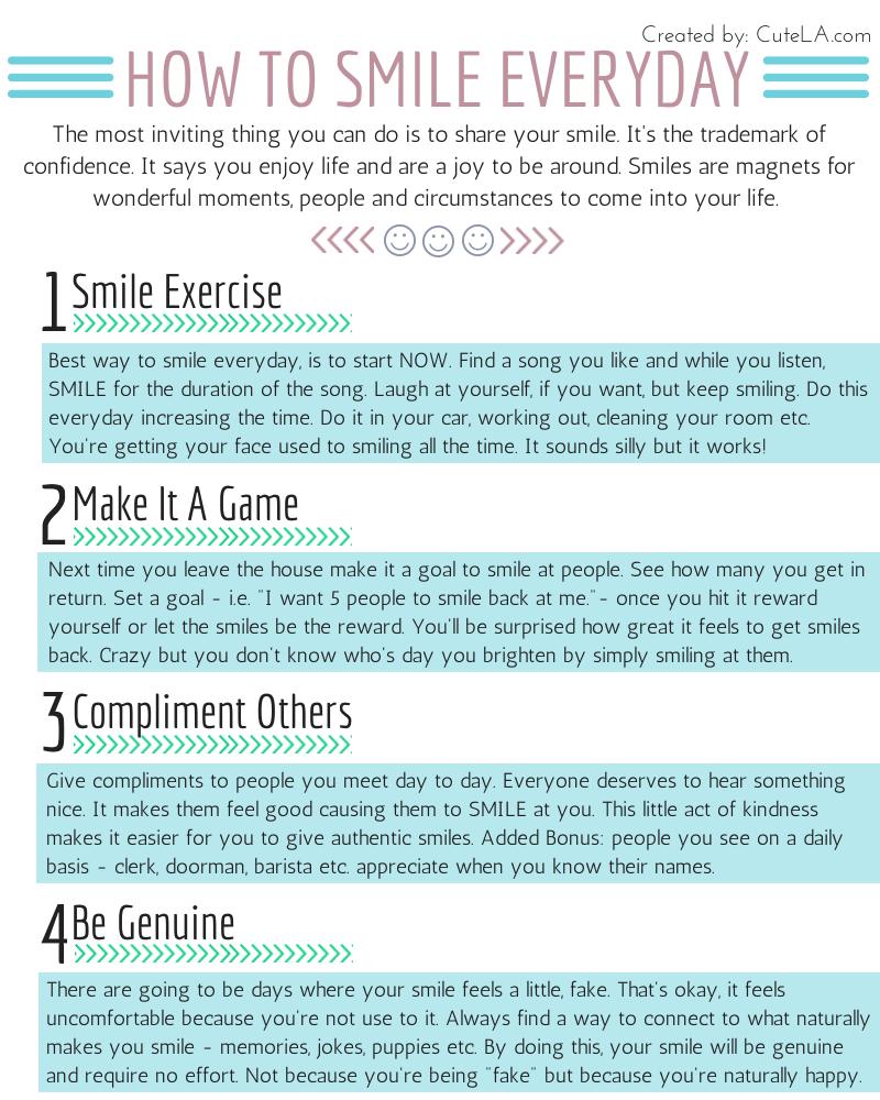 How To Smile Everyday Infographic via Cute LA