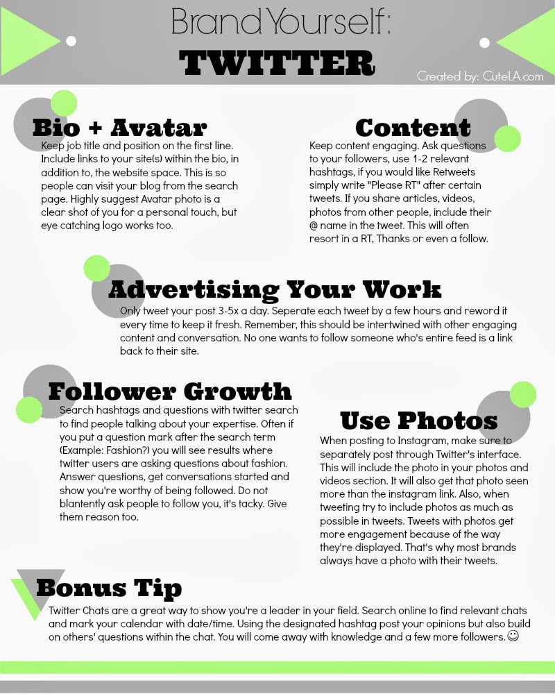 Brand Yourself On Twitter Infographic. Help strengthen Twitter skills and brand image. via Cute LA