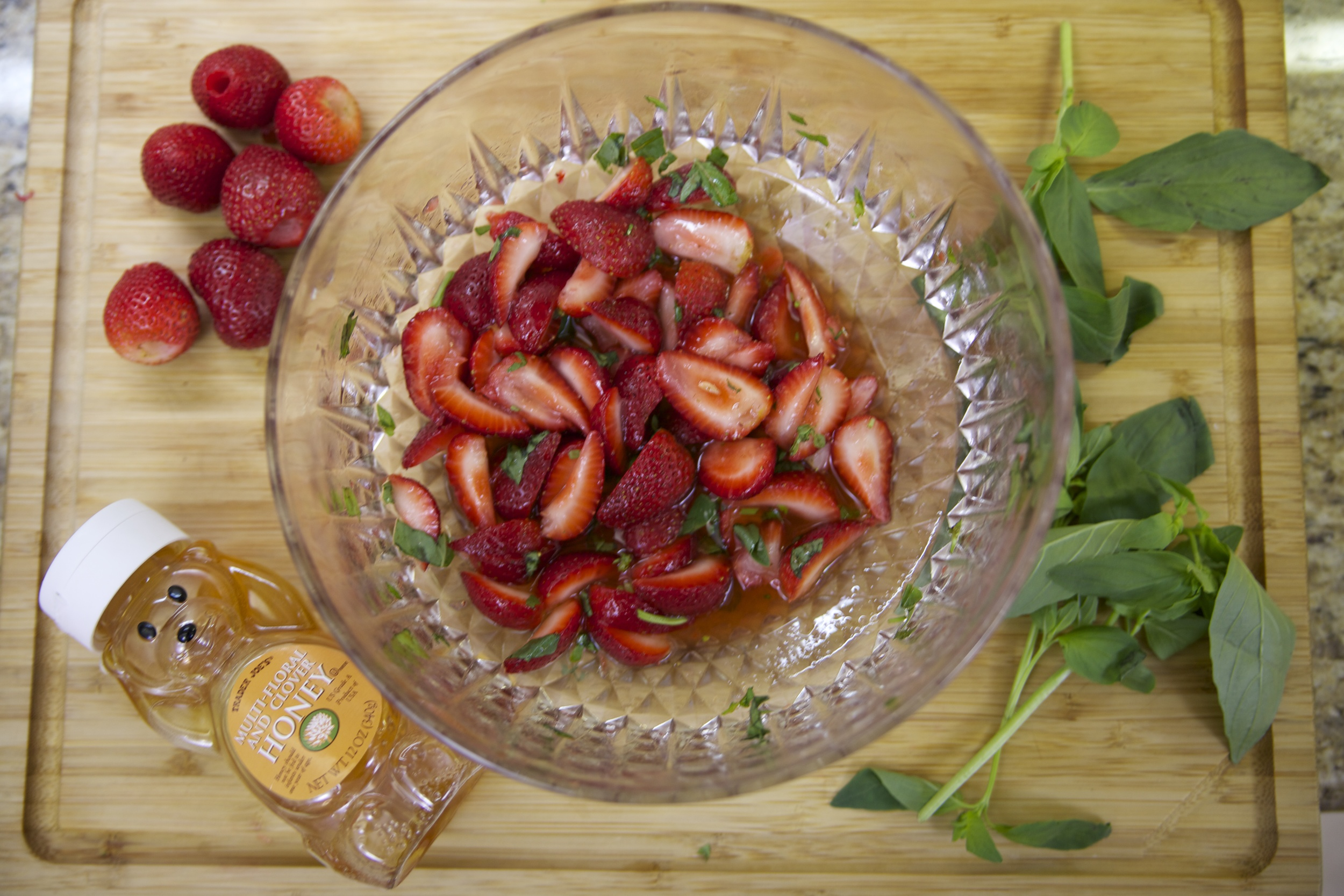 Strawberries, basil and honey