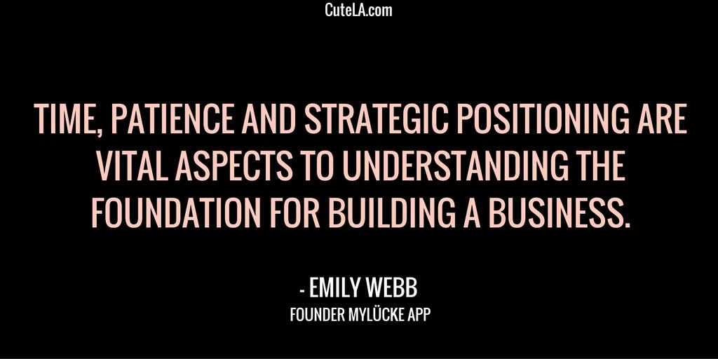 MyLucke Founder Emily Webb Quote
