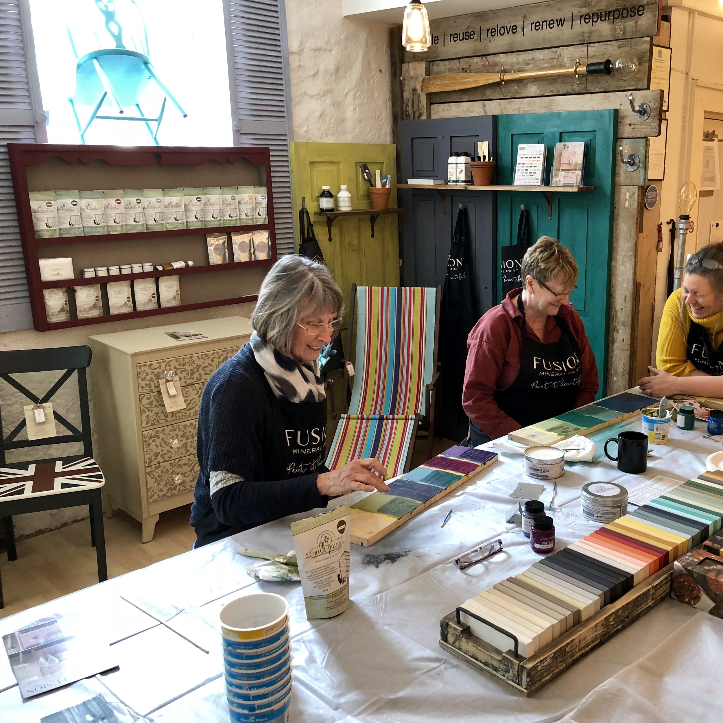 Miss Mustard Seed's Milk Paint workshop at Cromford Mills Derbyshire