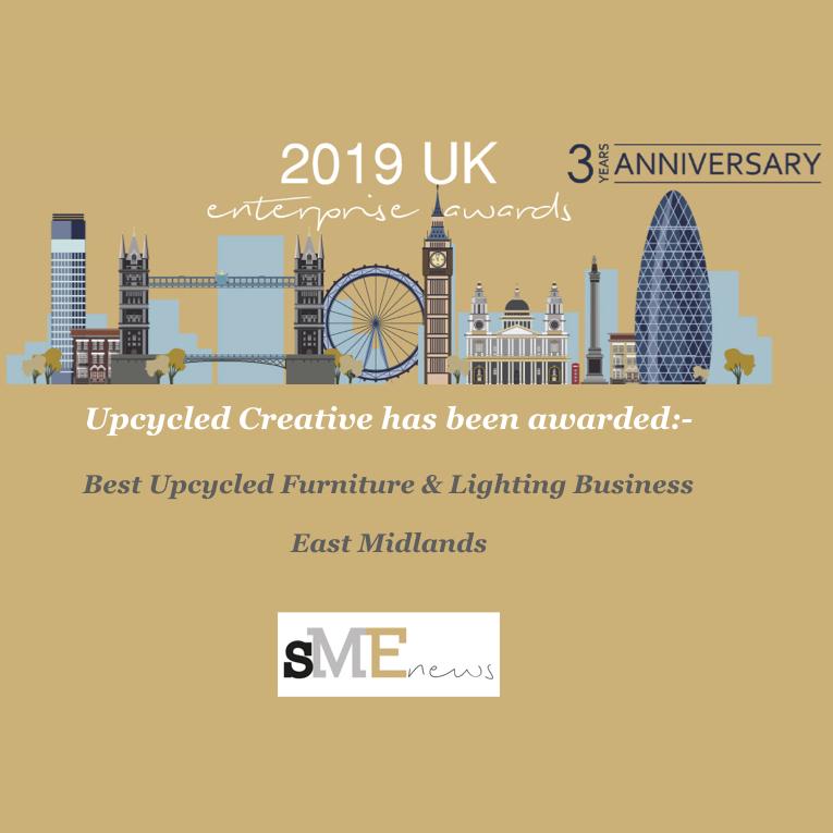 2019 SME Enterprize awards winner - best Upcycled furniture and lighting in the east midlands.jpeg