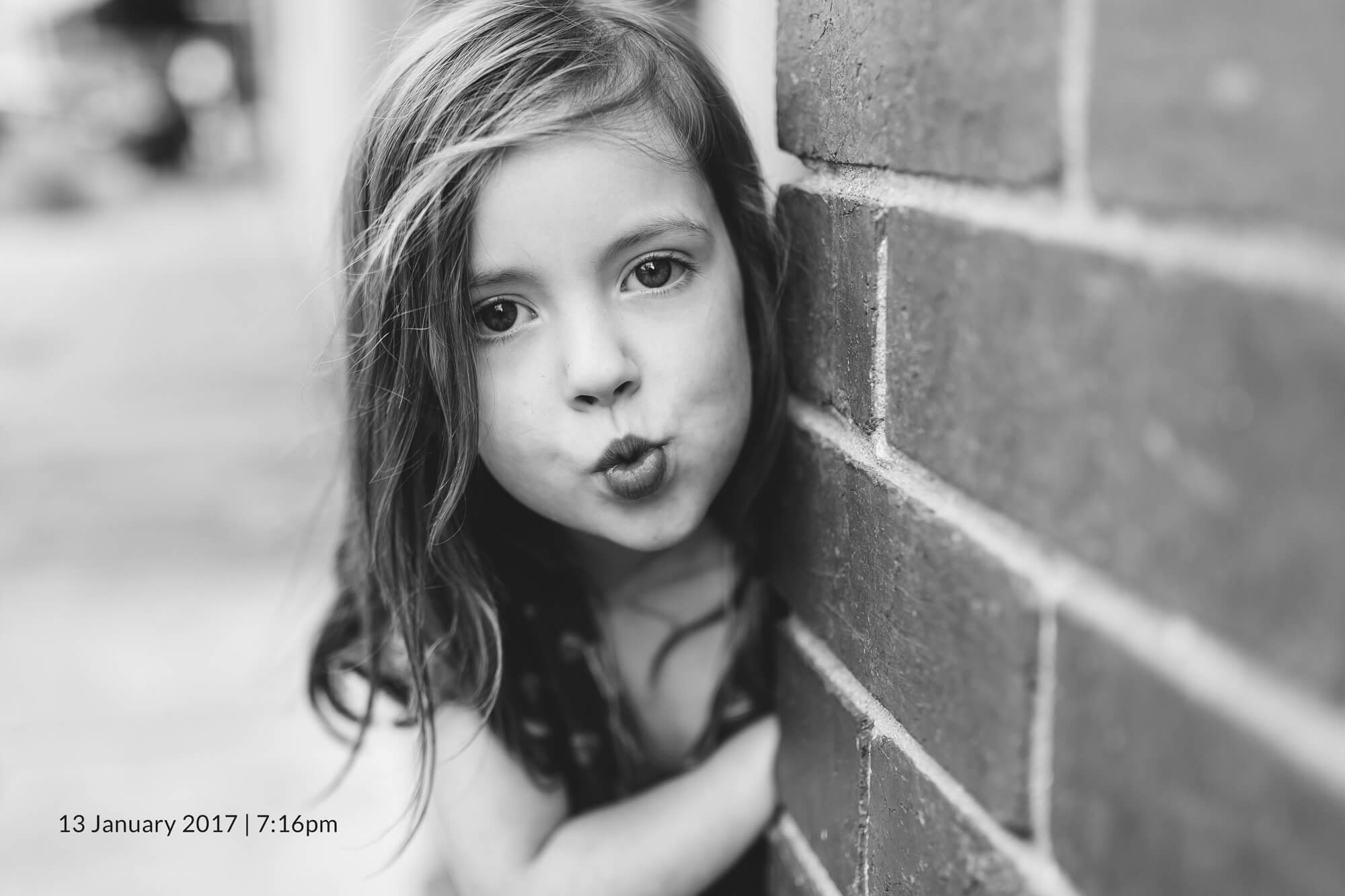 Melbourne child photography. Portrait in black and white of a young girl.
