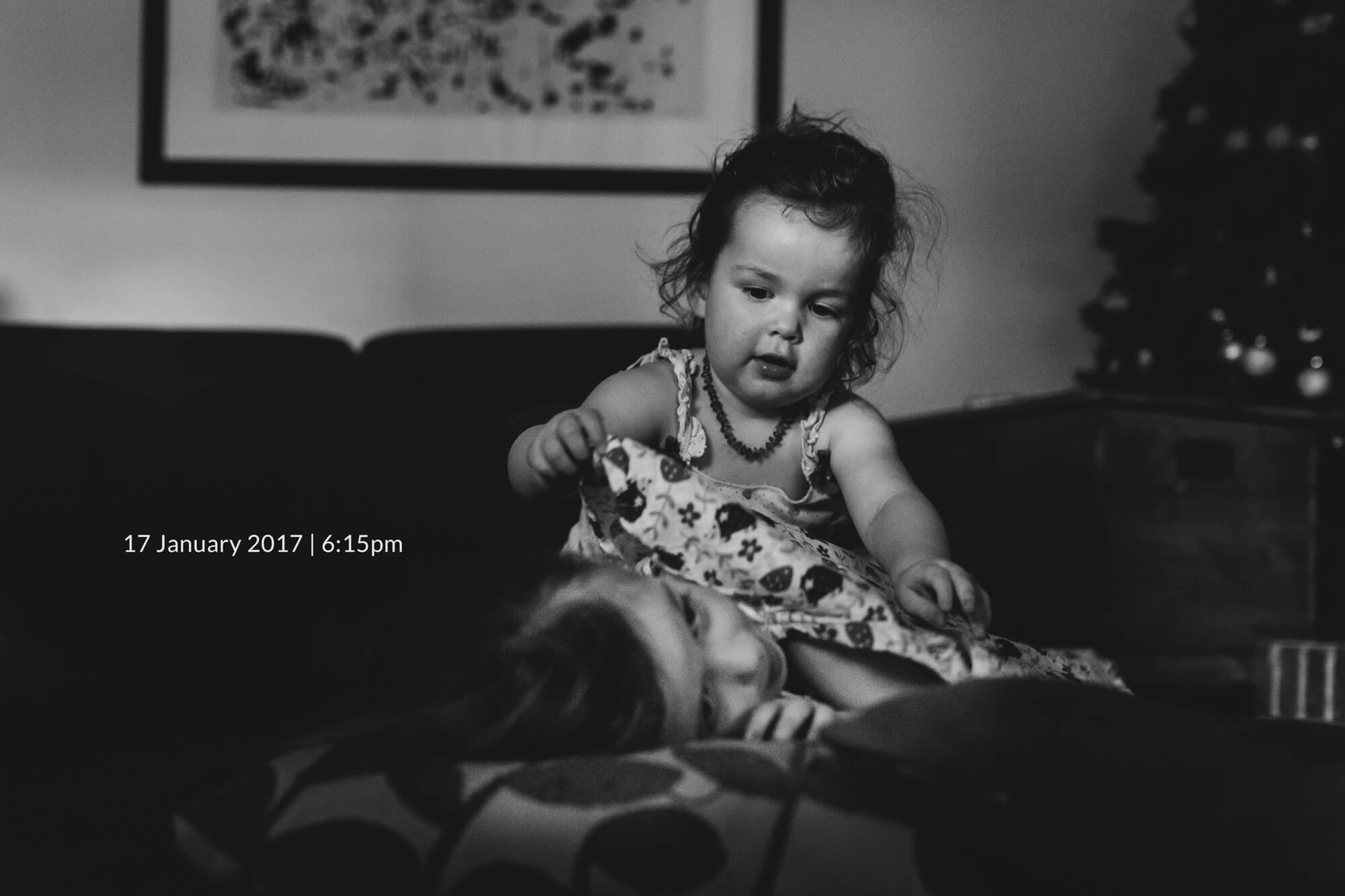 Melbourne lifestyle family photography. Black and white portrait of a toddler.