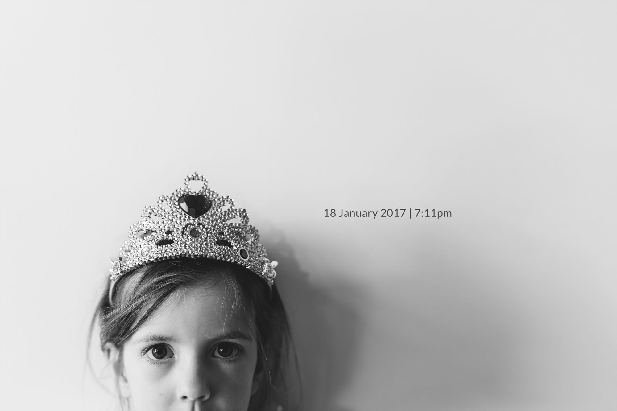 Melbourne family lifestyle photography. Lifestyle portrait of a young girl wearing a tiara.
