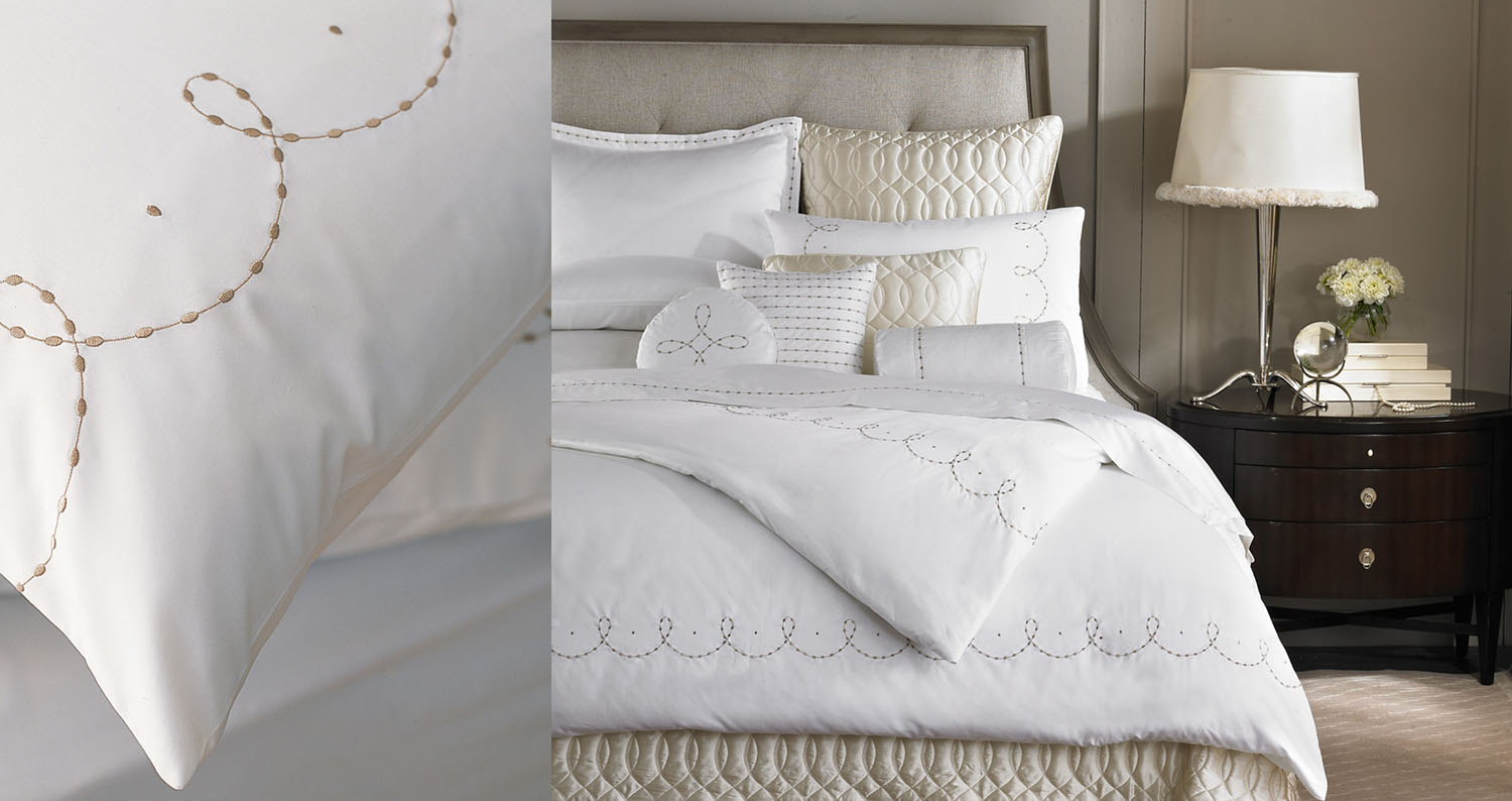 Barbara Barry Dream  - Over a dozen collections of luxury bedding ensembles using embroidery, jacquard and appliqué techniques, designed at the direction of Barbara Barry.