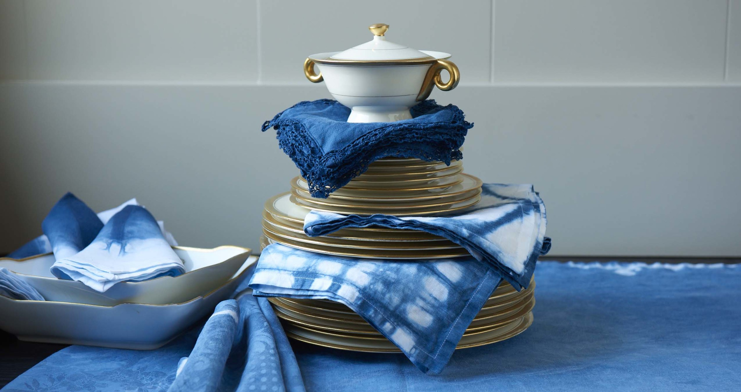 Custom Dyed Table Linens  - An original collection of hand-dyed napkins & tablecloths using traditional indigo dye techniques over new and vintage pieces.
