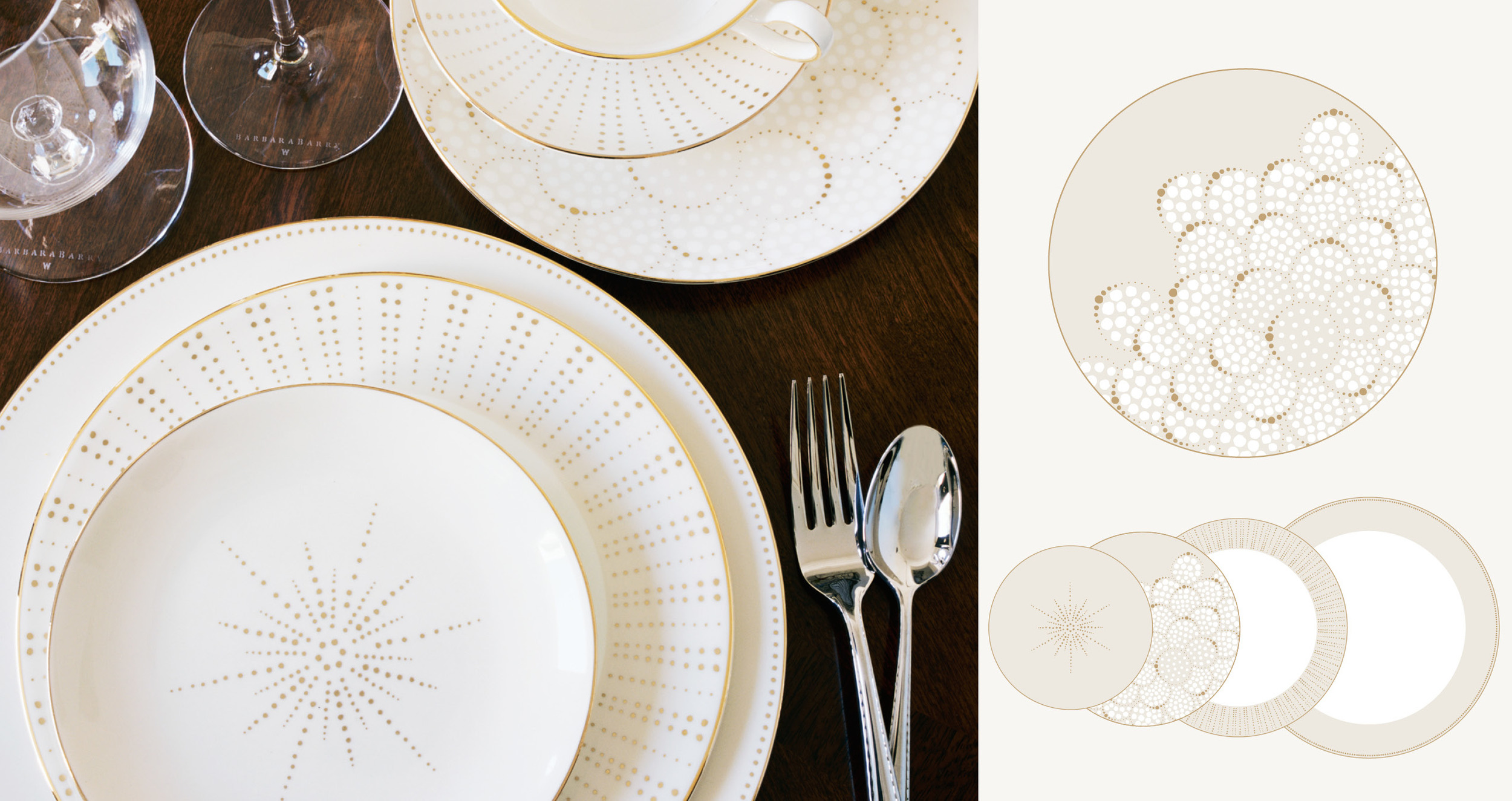 Barbara Barry for Wedgwood  - Four bone china dinnerware collections including accent plates, developed at the direction of Barbara Barry.