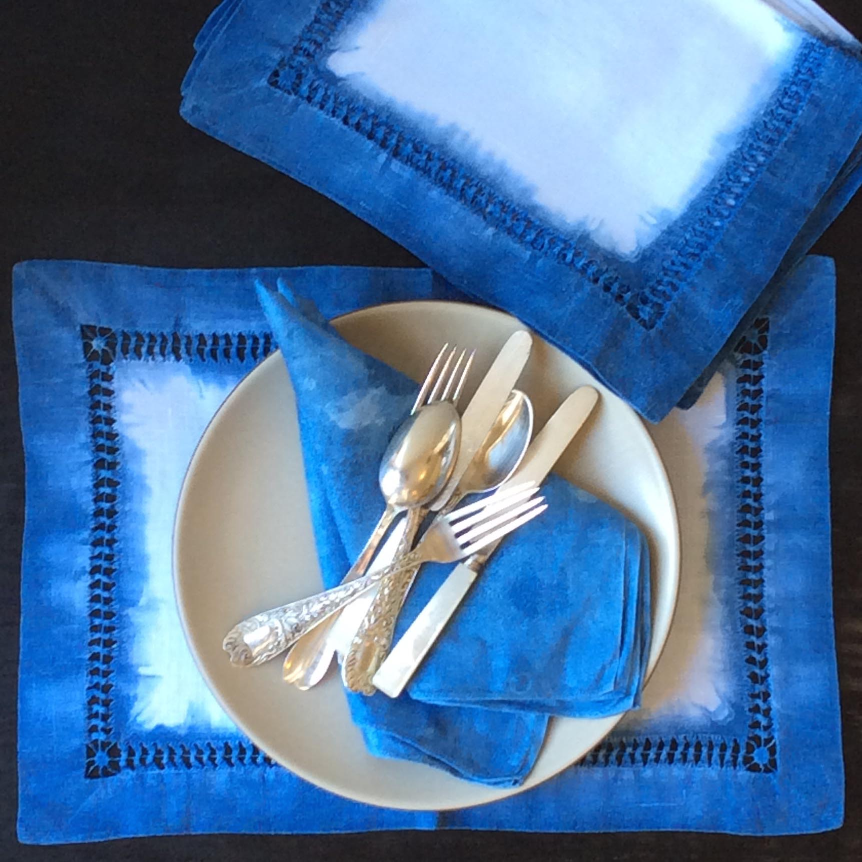 Estate sale finds given a new life: a lovely fat hemstitched placemat set and some jacquard linen napkins, all after 24 hours in the blue.