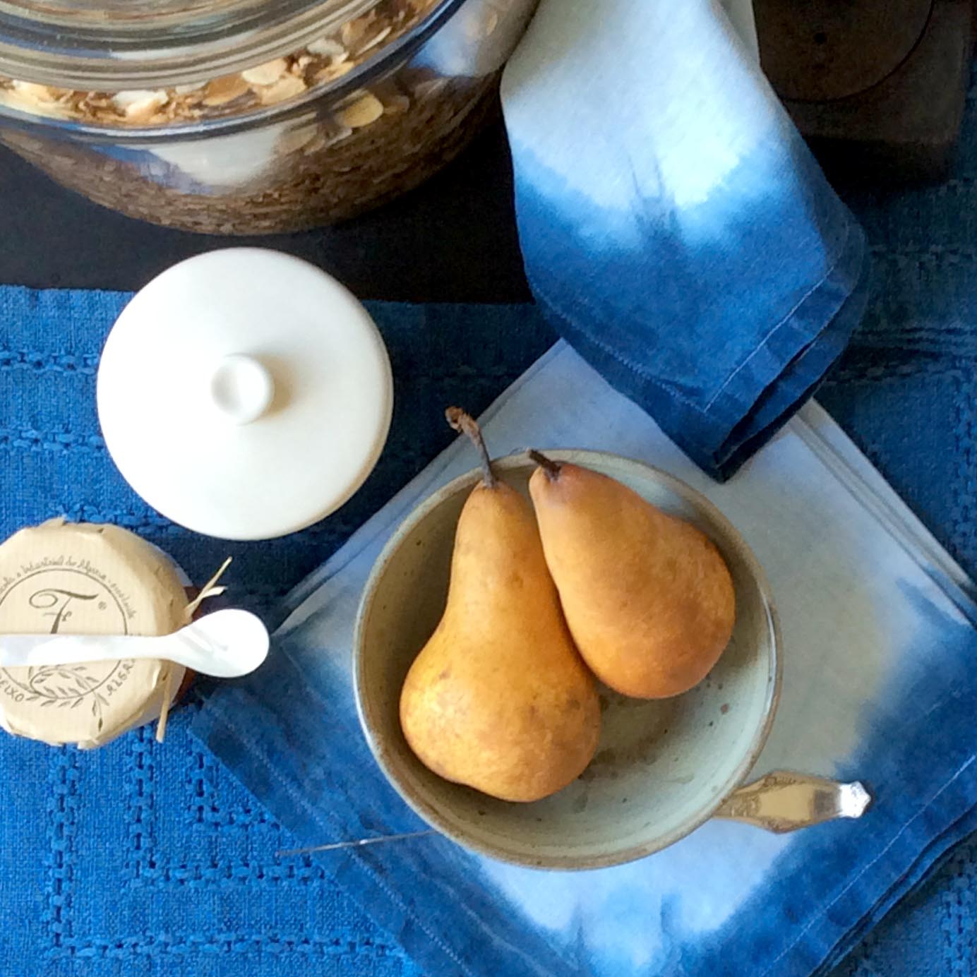 A set of vintage heavy linen placements and a set of new linen napkins with a simple blue border