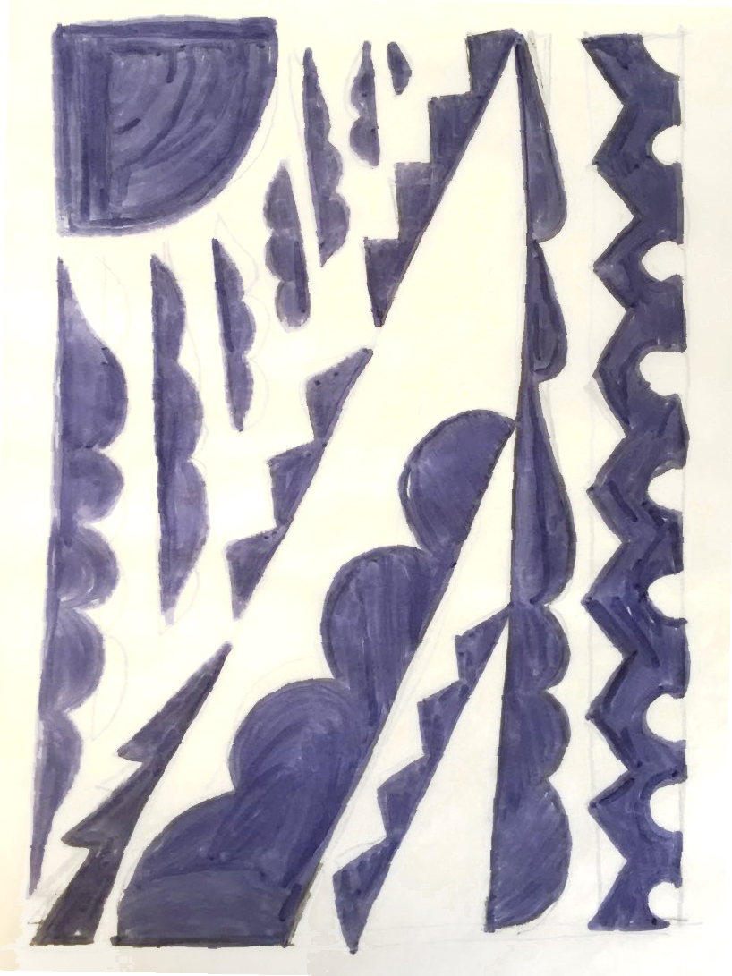 Design draft, inspired by deco motifs and laid out to suggest a pine tree.